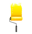 Yellow paint roller isolated on white vector image
