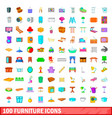 100 furniture icons set cartoon style vector image vector image