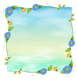 A blue empty template with flowers vector image vector image