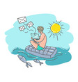 a man on a swimming mattress with a laptop vector image vector image