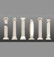 ancient broken greek columns baroque pillars vector image