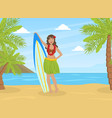 beautiful girl in skirt leaves standing vector image vector image