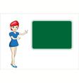 Beautiful teacher woman in front of chalkboard