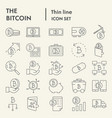 bitcoin thin line icon set cryptocurrency symbols vector image vector image