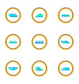 blue sea waves icons set cartoon style vector image