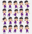 cartoon character girl set with different vector image vector image