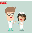 Cartoon Doctor explain report to nurse vector image