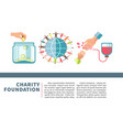 charity foundation poster for blood and money vector image vector image