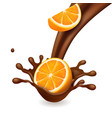 chocolate splash with orange fruit vector image vector image