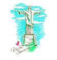 Christ the redeemer in Rio de Janeiro vector image vector image