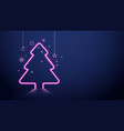 christmas tree pink neon light and stars vector image vector image