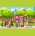 city boy playing with pet in park vector image vector image