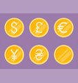 coins icons set flat vector image