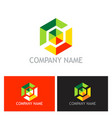 colorful polygon technology logo vector image
