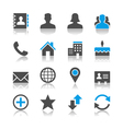 Contact icons reflection vector image vector image