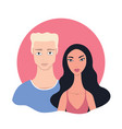 couple portrait happy young mixed race multi vector image