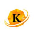 diamond swoosh initial k vector image