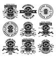 diving school set of nine black emblems vector image vector image