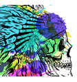 dotwork style skull with indian feather hat vector image vector image