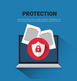 email protection concept laptop with lock data vector image vector image