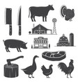 farm animals butsher shop farm steak kitchen vector image
