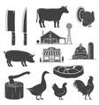 farm animals butsher shop steak kitchen vector image