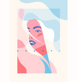 fashion portrait a blondie model girl retro vector image