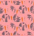 fern pink leaves circles and birds seamless vector image