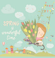 girl sitting on swing with spring flowers vector image