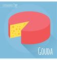 Gouda cheese icon vector image vector image