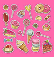 hand drawn colored sweets stickers vector image vector image