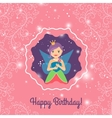 Happy Birthday card with cartoon princess vector image vector image