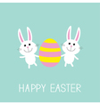 Happy Easter Two bunny rabbit and striped egg Flat vector image