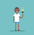 idea concept aha moment young smiling black boy vector image