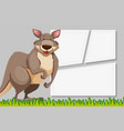 kangaroo on note template vector image vector image