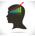 market graph in human head vector image vector image