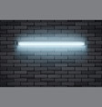 neon lamp on black brick wall vector image vector image