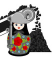 nesting doll coal miner and the conveyor vector image vector image