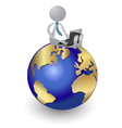Person working on the world logo design vector image vector image