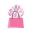 pink bag with cosmetics vector image