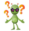 questioning alien on white background vector image