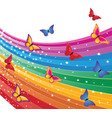 rainbow and butterflies vector image vector image