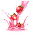 realistic strawberry slice juice splash vector image vector image