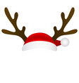 reindeer antlers and santa claus cap mask template vector image