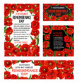 remembrance day red poppy flower poster design vector image vector image