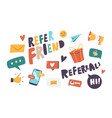 set icons refer friend theme paper airplane vector image