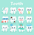 set of funny icons of teeth vector image vector image
