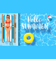 woman sunbathing near swimming pool vector image