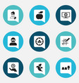 set of 9 editable business icons includes symbols vector image