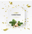 3d christmas white card wreath and gold foil vector image